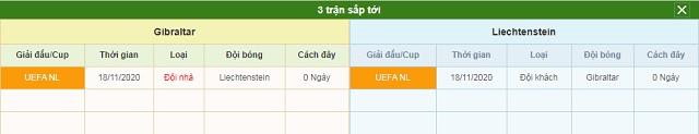 3 trận tiếp theo Gibraltar vs Liechtenstein