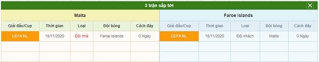 3 trận tiếp theo Malta vs Faroe