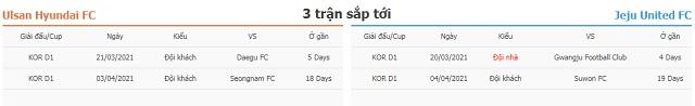 3 trận tiếp theo Ulsan vs Jeju