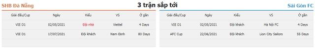 3 trận tiếp theo Đà Nẵng vs Sài Gòn