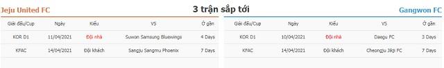 3 trận tiếp theo Jeju vs Gangwon