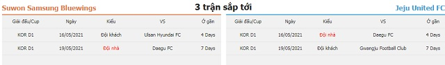 3 trận tiếp theo Suwon vs Jeju