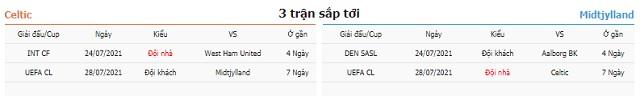 3 trận tiếp theo Celtic vs Midtjylland