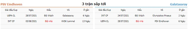 3 trận tiếp theo PSV vs Galatasaray