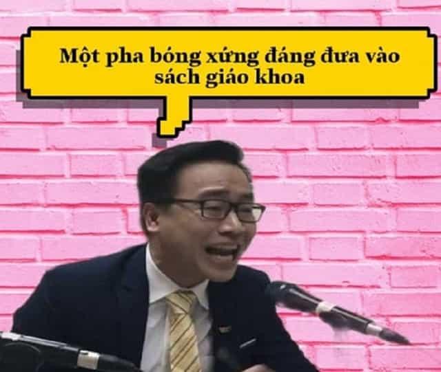 BLV Tạ Biên Cương có nhiều pha bình luận hài hước