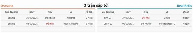3 trận tiếp theo Osasuna vs Betis